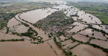 Flooding at Upton upon Severn in Worcestershire