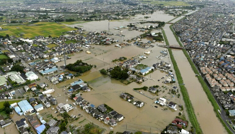 Floodwaters fill streets in the town of Koshigaya, near Tokyo