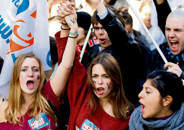 French students during a demonstration over pension reform.