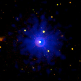 In this September 2008 updated photo taken of the gamma burst hypernova of March 19, 2008, we can see the actual unfiltered colour of blue light. This was reportedly visible for up to an hour depending on location.