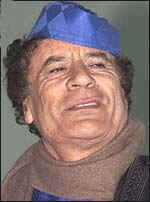 Libyan leader Moammar Gadhafi with blue headdress