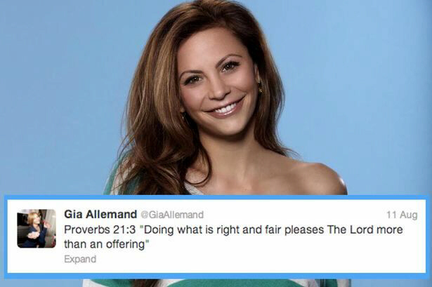 Gia Allemand, a Christian, tweets that if she is found dead, it will not be as a suicide victim, but as an unwilling human sacrifrice