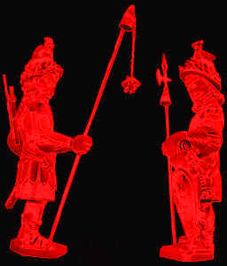 Gog and Magog - red on black
