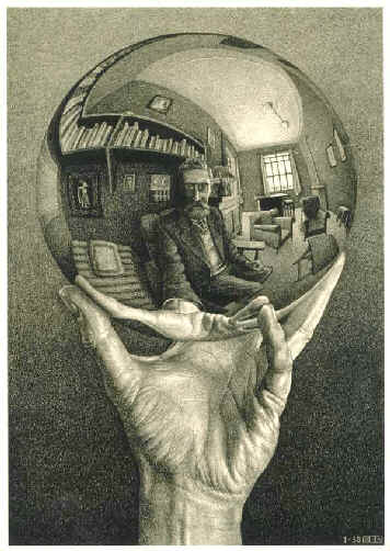Hand With Reflecting Sphere by MC Escher, 1935