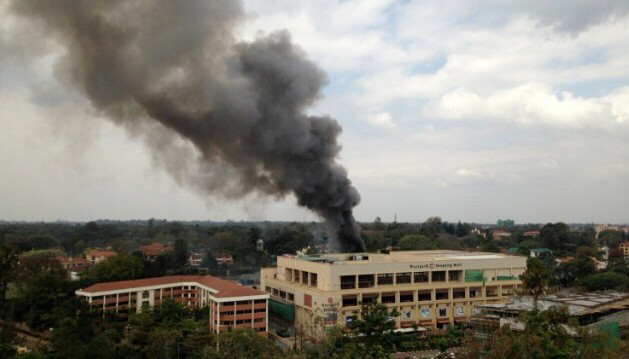 Heavy smoke rises from the Westgate Shopping Mall