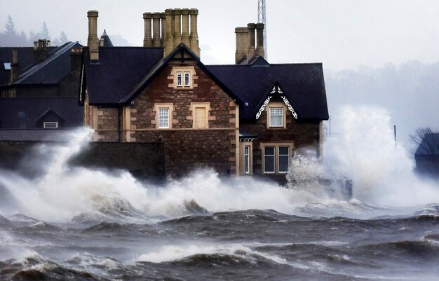High waves batter the coast of Scotland