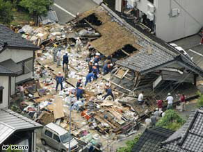 House collapsed by strong earthquake in Kashiwazaki, Japan