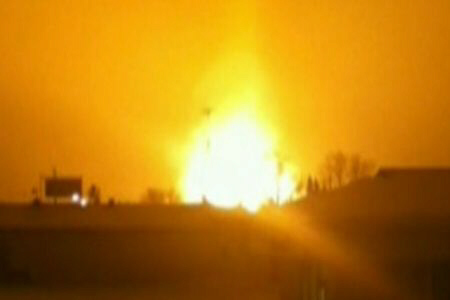 A huge gas pipeline explosion has closed part of the Trans Canada Highway