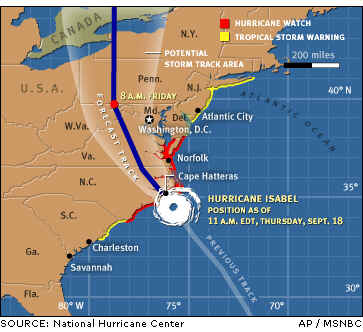 Hurricane Isabel Map