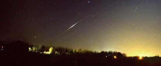 The ISS appears as a very bright streak as it moves upwards from the horizon in this recent photo by Linda Davison