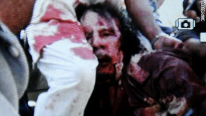 Image allegedly of Moammar Gadhafi, taken in Sirte, Libya on October 20