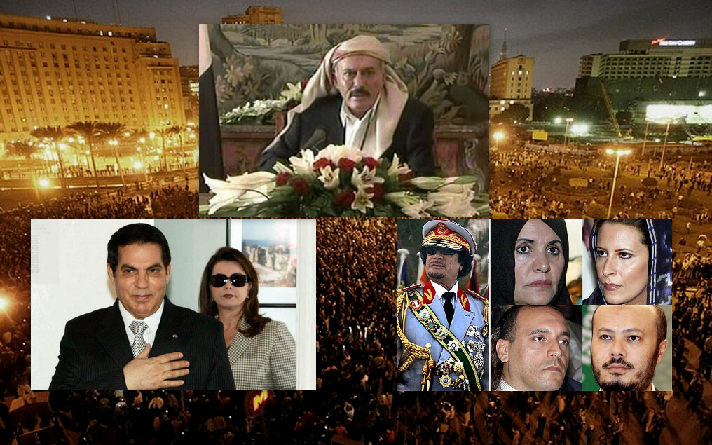 In exile: Tunisian president Zine El Abidine Ben Ali and his wife Leila Ben Ali [left], Libyan leader Moammar Gadhafi's wife Safia, daughter Aisha, and sons Hannibal and Mohammed [right], and Yemeni President Ali Abdullah Saleh [top]