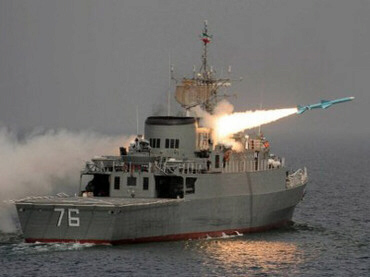 Iranian Nour missile launched from the destroyer Jamaran