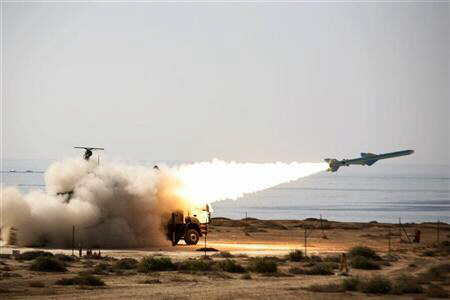 Iranian long-range shore-to-sea missile Qader is launched