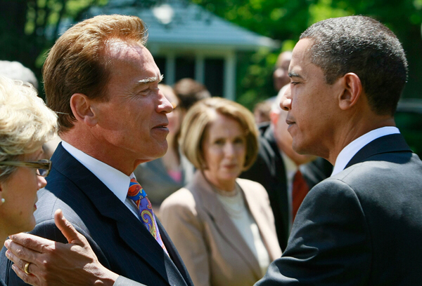 Is Arnold Schwarzenegger angling for a job in the Obama administration?
