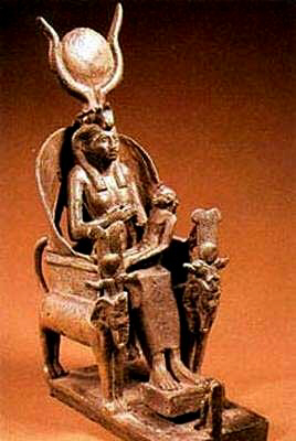 Isis wearing solar crown with horns nursing Horus