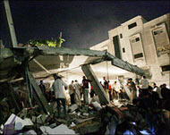 The Israeli air raid brought down a three-storey building