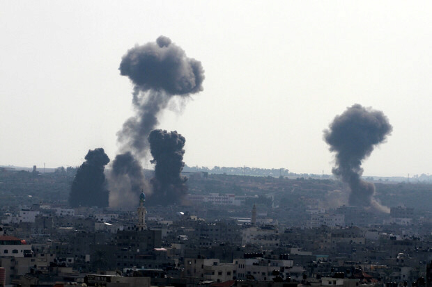 Israeli airstrikes on Hamas targets in Gaza City on November 15,  2012