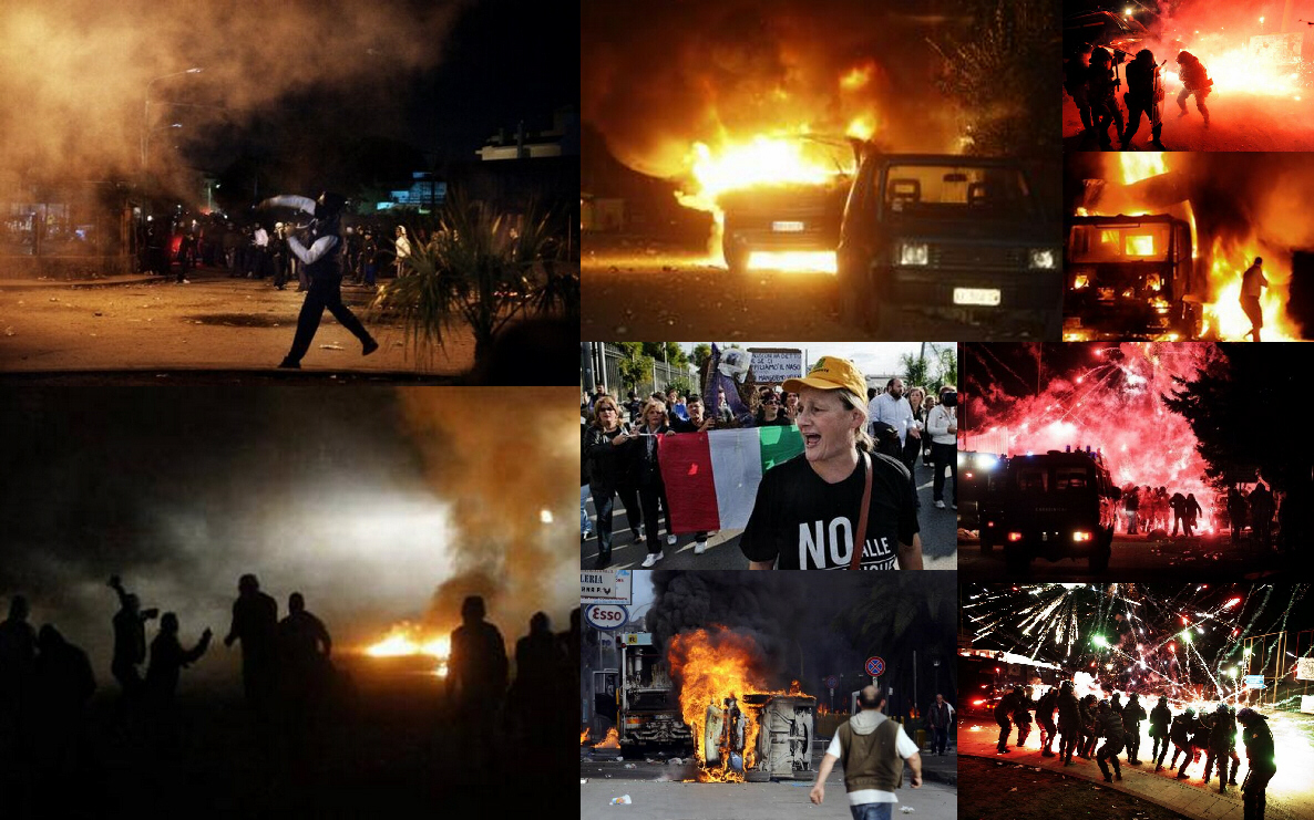 Italian protests and riots in Naples