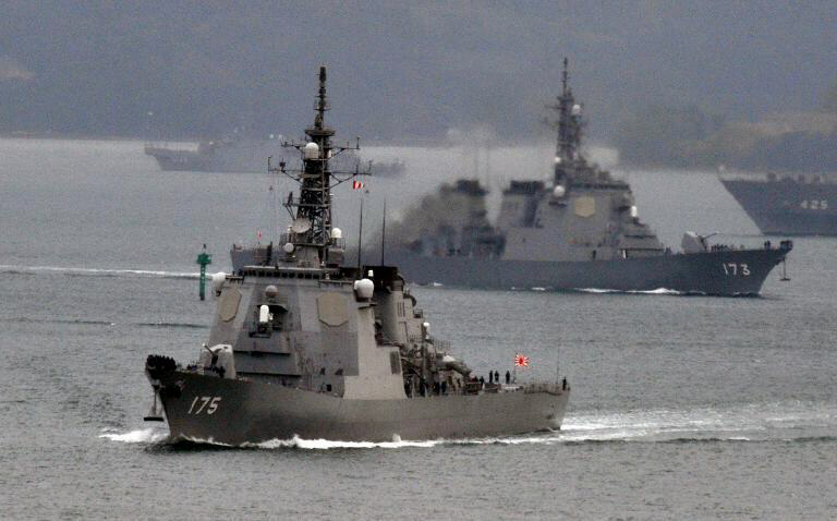 Japanese Maritime Defense Force's Aegis cruisers Myoko and Kongo
