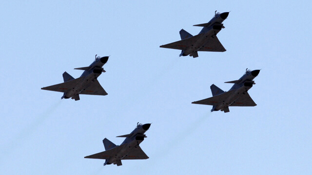 Jian 10 fighter jets of China scramble towards US and Japan planes