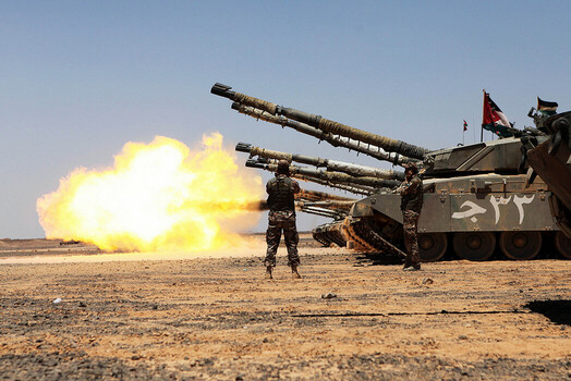 Jordanian Kahlid Tanks in action [Associated Press]