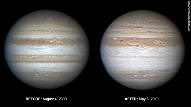 Jupiter before and after: the southern band is missing