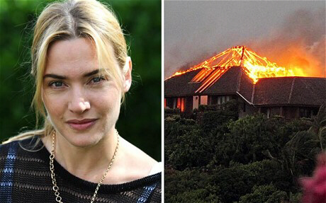 Kate Winslet and fire on Necker Island