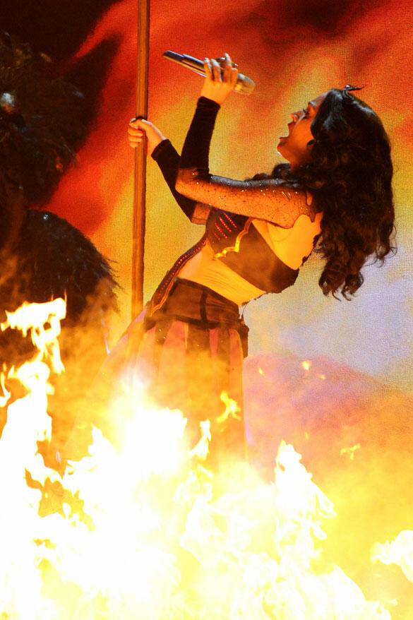 Katy Perry 'burns' at the stake at Grammy awards show