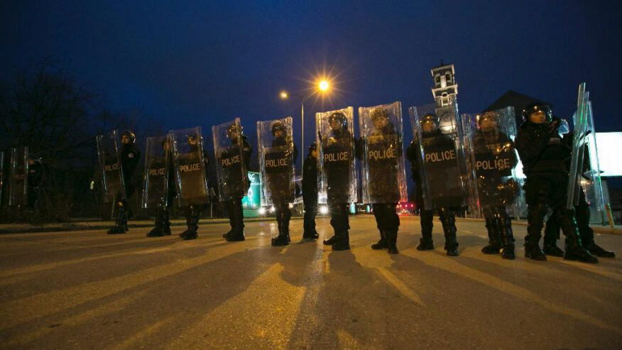 Kosovo riot police secure the main square in Kosovo capital Pristina