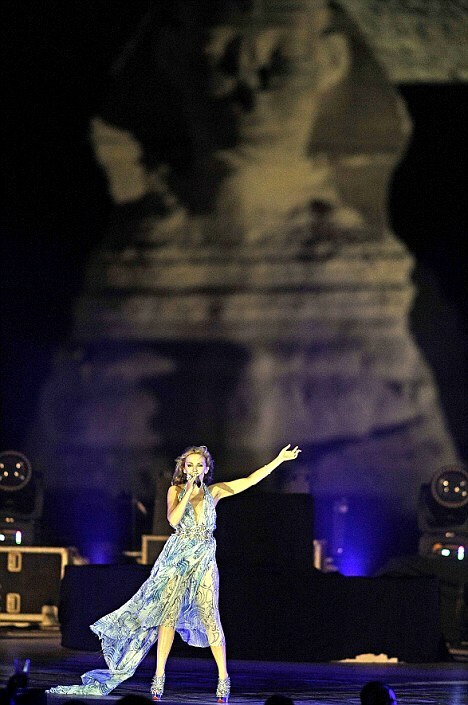 Kylie Minogue performs before the Sphinx