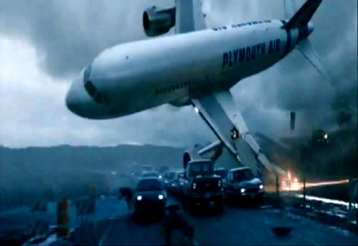 Live shot of of aircraft crashing into highway