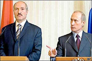Lukashenko (left) looked 'subdued and humbled' - Putin pointed out 'who was boss'