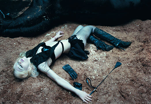 Madonna lying near death at scene of accident (note blue colour of skin)