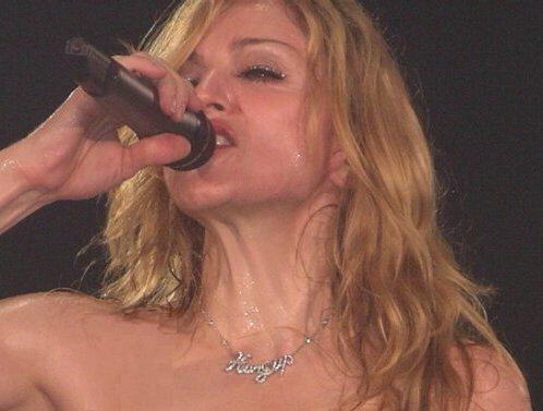 Madonna wears 'Hung Up' necklace at recent concert