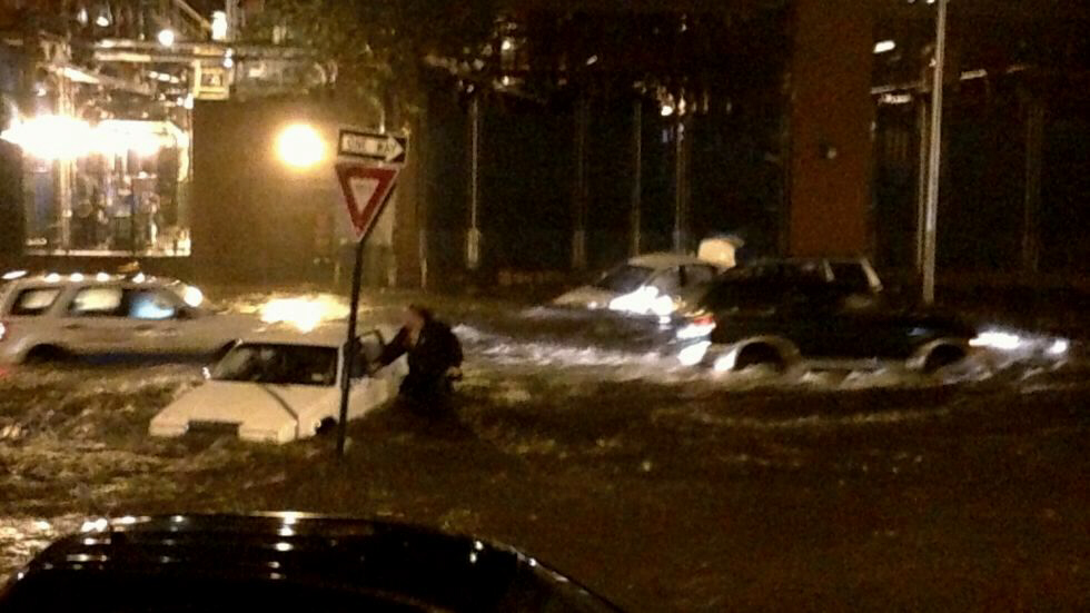Manhattan flooding: cars under water on Ave C and 14th Street