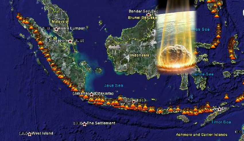 Map of asteroid explosion over Indonesia