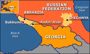 Map of Georgia and Russia