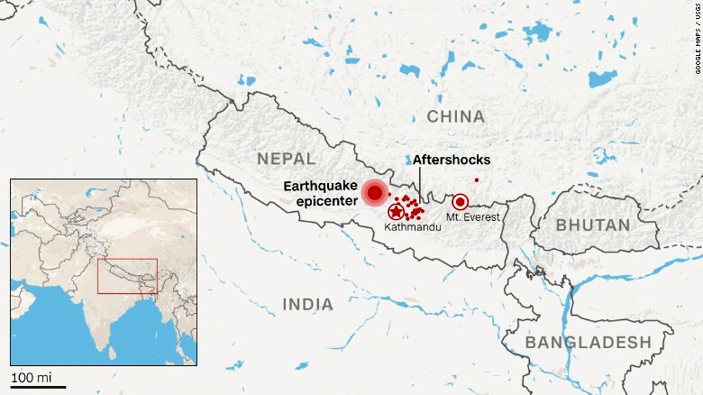 Map of Nepal quake