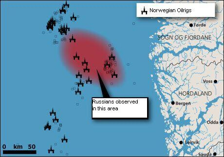 Map of Russian activity near Norway