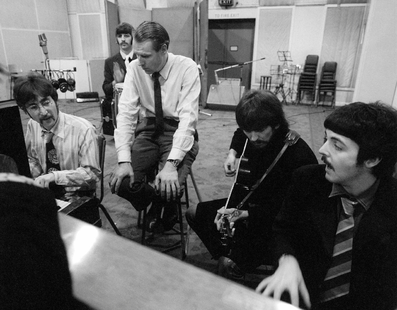 Martin with the Beatles at Abbey Road