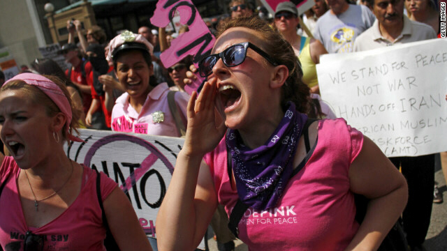 Members of the anti-war group Code Pink demonstrate in Chicago