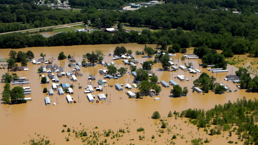 Mobile homes overflowed by floodwaters along the Wolf River in Memphis, Tenn.