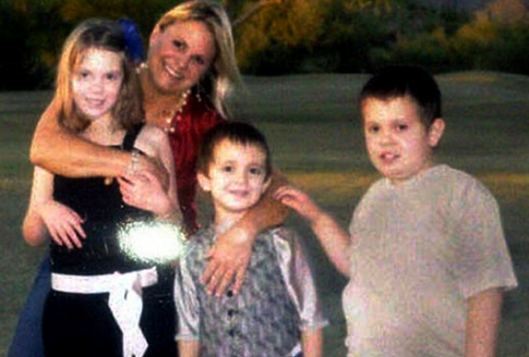 Morgan Perry, 9; Luke Perry, 6; Logan Perry, 8; shown with mother, Karen Perry