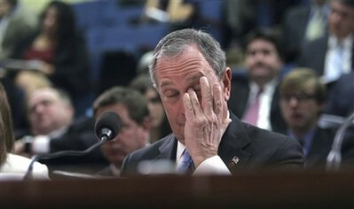 NYC Mayor Bloomberg looking distraught