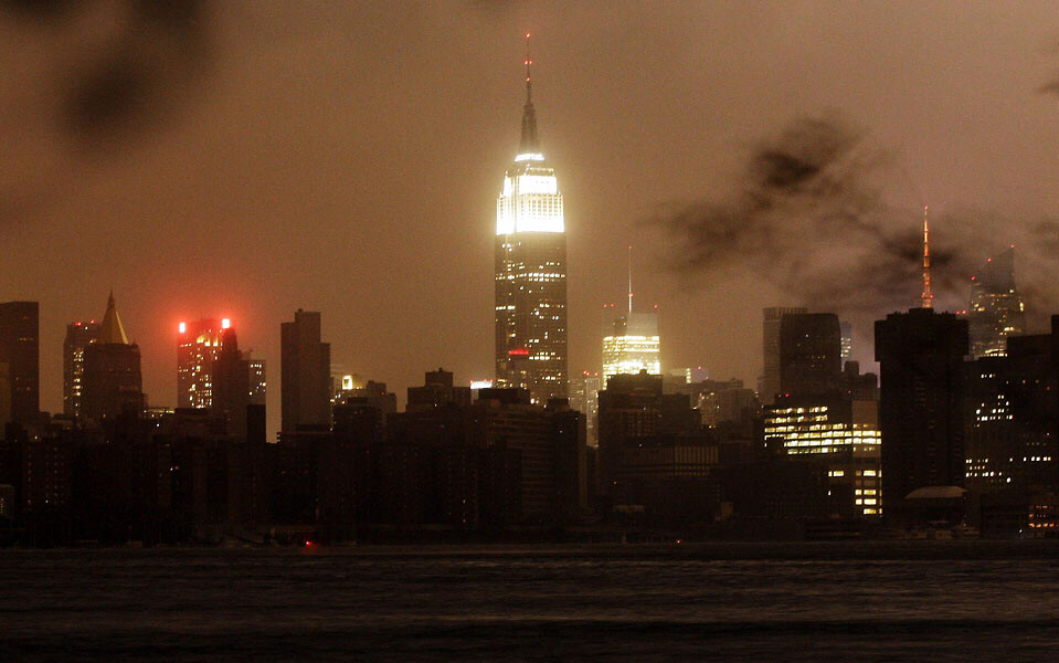 The New York skyline remains dark Monday, Oct. 29, 2012, as seen from the Williamsburg neighborhood in the Brooklyn borough of New York.