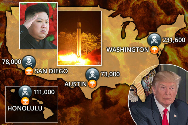 N Korean nuclear strikes on four targets will kill 493,000 US citizens