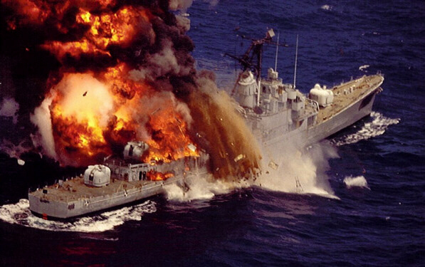 Navy destroyer attacked