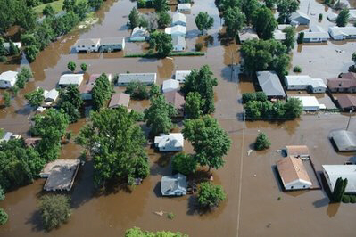 Neighborhood submerged by flood water from the Souris River