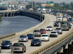 New Orleans residents leave Friday via Interstate 10.